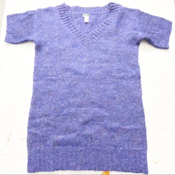 J Crew Mohair wool Short Sleeve V Neck top